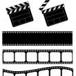 Open and closed movie clapper + 3 film strips — Stock Vector