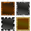Four animal print frames to put your own photo or text in. - Stock Vector