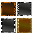 Four animal print frames to put your own photo or text in. - Image vectorielle