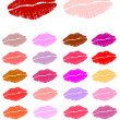 Set of lipstick kisses — Stock Vector #7279831