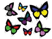 色の蝶のコレクション — ストックベクタ