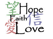 Chinese symbols for hope, faith and love — Vector de stock
