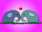 Elephants in love — Stock Vector