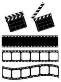 Open and closed movie clapper + 3 film strips — Stockvector