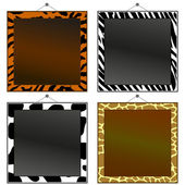 Four animal print frames to put your own photo or text in. — Stock Vector