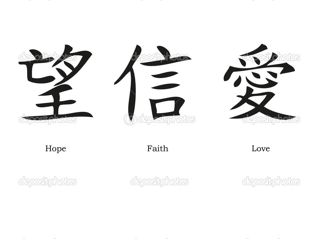 Chinese Symbols For Faith Hope Charity Tattoos  Tattoo
