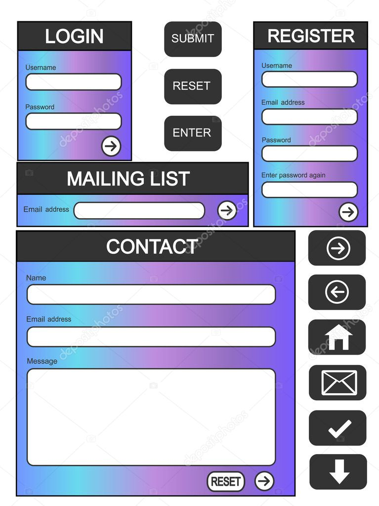 Website login, contact and register form + additional buttons  Stock Vector #7279772
