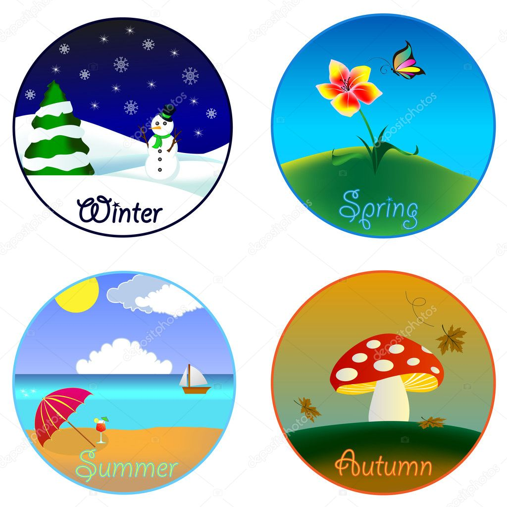 The four seasons (winter, spring, summer and autumn ...