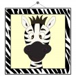 Zebra portrait in zebra frame — Stock Vector
