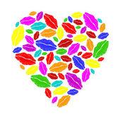 Colorful lipstick heart — Stock Vector