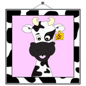 Cow portrait in cow frame — Stock Vector