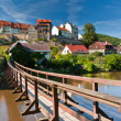 Pendant bridge, Loket, Czech Republic - Stock Photo