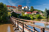 Pendant bridge, Loket, Czech Republic — Stock Photo