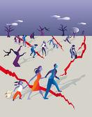 Running away in a earthquake — Vector de stock