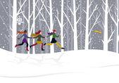 Christmas three girls running — Stock Vector