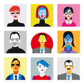 Avatar businessmen businesswomen set — Wektor stockowy