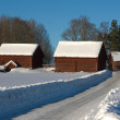 Farm buildings covered in snow — Stock Photo