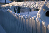 Fence with snow — Stock Photo