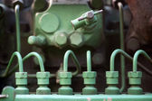 Fuel injectors on vintage machine — Stock Photo