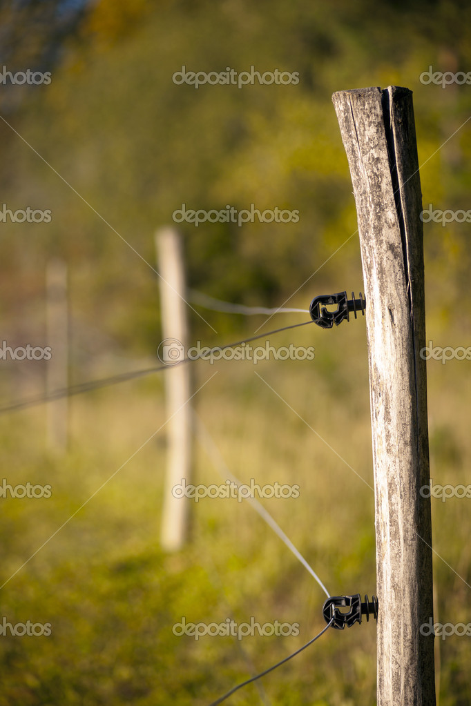 Close up of electric fence in rural autumn landscape — Stock Photo #7186285