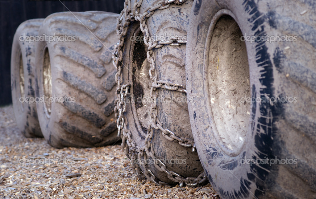 Close up of dirty wheels of heavy vehicle  Stock Photo #7186338