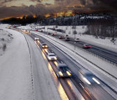 Winter evening traffic — Stock Photo