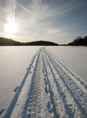 Snow machine tracks — Stock Photo