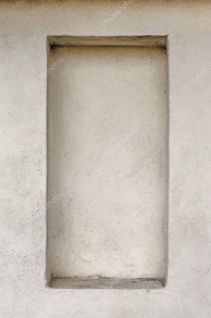 Empty frame with shelf in concrete wall. Copy space. — Stock Photo #7210083