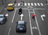Street with busy traffic — Stock Photo