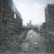 Stock Photo: City landscape through shattered glass