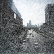 City landscape through shattered glass — Stock Photo #7302140