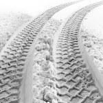 Постер, плакат: Tire tracks in snow