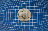 Net com bola de futebol — Fotografia Stock