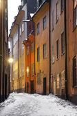 Narrow street in Stockholm — Stock Photo
