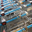 Trolleys at a supermarket — Stock Photo