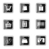 Shopping à boutons noirs — Vecteur