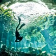descending in cenote — Stock Photo