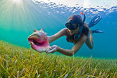 Snorkeler with a conch shell — Stock Photo