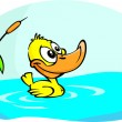 Little yellow duck - Stock Vector