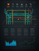 Infographics element with a map of the city or metro — Cтоковый вектор