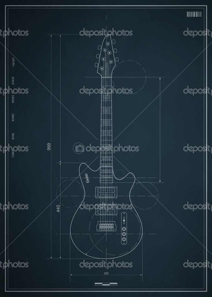 Blueprint electric guitar with the dimensions on paper for Blueprint size paper