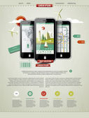 Mark up a page with three mobile phones — 图库矢量图片