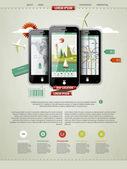 Marquer une page avec trois téléphones portables — Vecteur