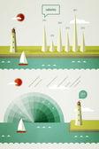 風景の灯台とインフォ グラフィック要素 — ストックベクタ