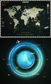 Infographics elements of the world map, and sonar — Stock Vector