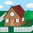 Stock Vector: House with Picket Fence