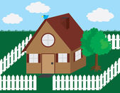 House with Picket Fence — Stock Vector