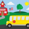 School Bus and Schoolhouse — Stock Vector