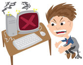 Man Angry at Computer — Stock Vector