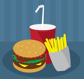 Hamburger, Fries and Drink — Stock Vector